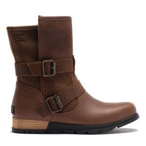 NWOT Sorel Brown Leather Felt Fold-over Moto Boot